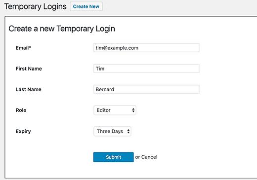 نحوه ایجاد ورود موقت برای وردپرس بدون کلمه عبور