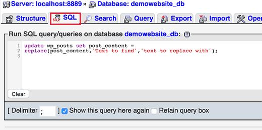 پیدا کردن و جایگزینی متن وردپرس در پایگاه داده با یک کلیک