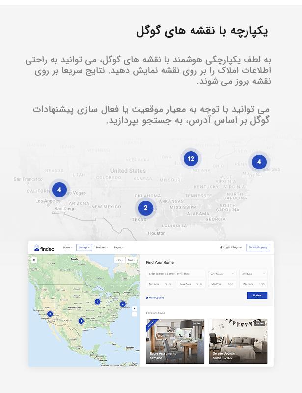 قالب وردپرس مشاور املاک فایندئو findeo | سازگار با نقشه گوگل